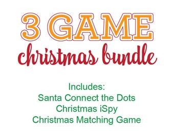 Christmas Games Bundle, Christmas Games Printable Kit, Christmas Connect the Dots, Christmas Matching Game, Christmas iSpy, Christmas Games