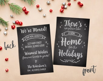 moving announcement christmas card change of address new home moving personalized printable custom just moved address announcement
