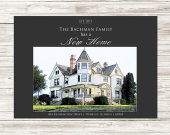 New home moving announcement  | custom house sketch