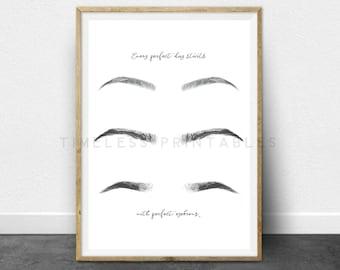 Eyebrows Sign- 8x10 and 5x7 Printable - Salon decor, Eyebrows, Brows, Office decor, Wall art