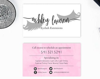 Esthetician business cards etsy eyelash business card estheticianhair stylistmakeup artist 35x2 fern lush floral modern sleek colourmoves