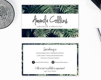 Esthetician business cards etsy esthetics business card estheticianhair stylistmakeup artist 35x2 fern lush floral modern sleek colourmoves