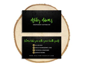 Green business card etsy green black gold business card 35x2 watercolor independent distributor girl boss mom boss reheart Images