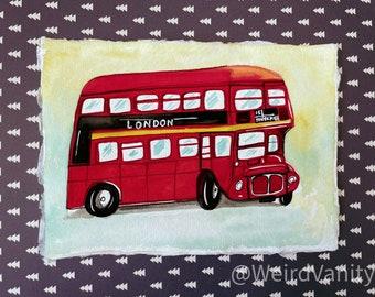 London Bus in Gouache on Khadi 100% cotton paper