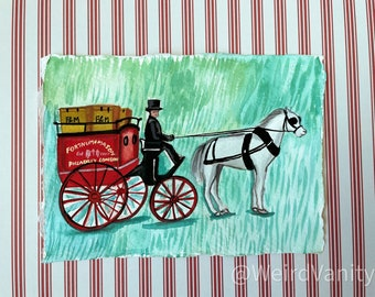 London horse carriage in Gouache on Khadi 100% cotton paper