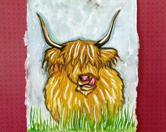 Highland cow in Gouache on Khadi 100% cotton paper