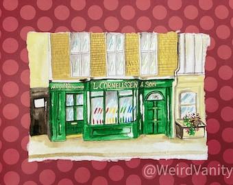 London art shop in Gouache on Khadi 100% cotton paper