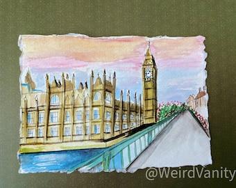 Big Ben London in Gouache on Khadi 100% cotton paper