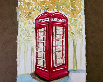 London phone booth in Gouache on Khadi 100% cotton paper
