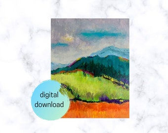 Nursery  Children/'s Room Wall Decor Colorful Sleepy Bear on Mountain Nature Scene Digital Download Art Happy Sunset Printable Artwork