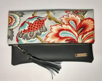 Grey Asian Floral Fold Over Clutch with Cross Body Strap option. Trendy boho chic handbag, gift for her, christmas gift for women.