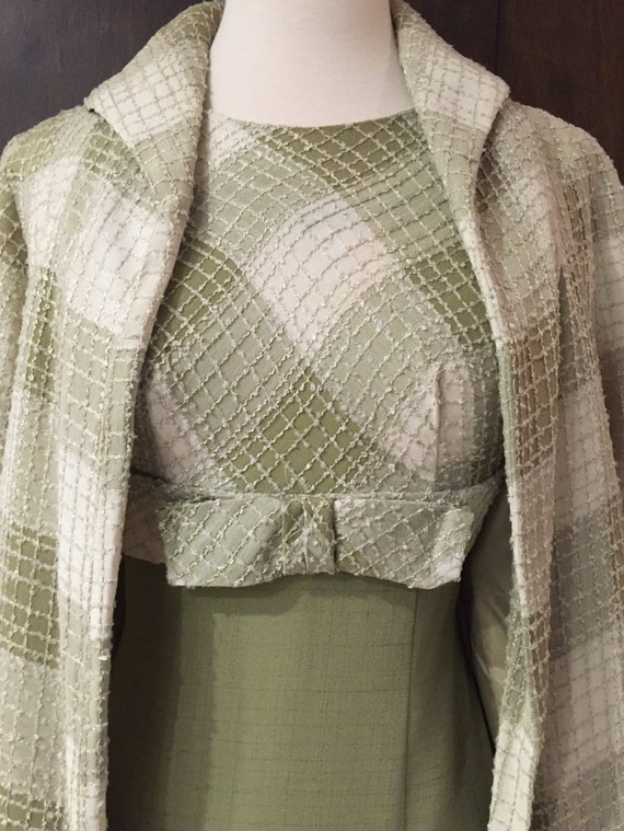 1960's Sage Green Linen And Chenille Dress and Lin