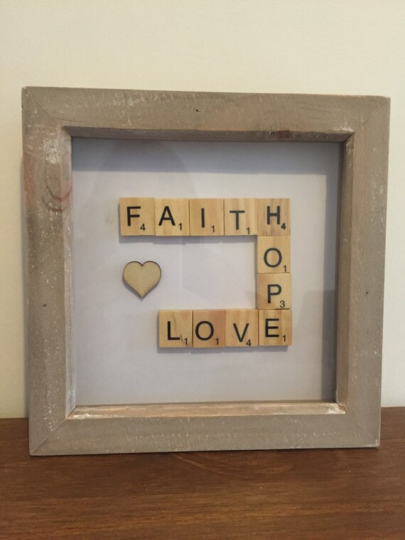 Faith Hope Love Scrabble Frame Etsy