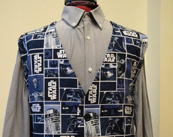 Boys waistcoat made with Star Wars Stormtroopers and Sithtroopers fabric matching Bowtie available.