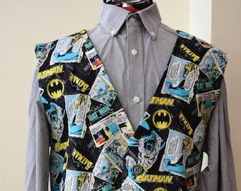Men/'s WaistcoatVest made with Batman Anniversary fabric; matching bowtie available