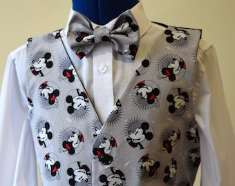 0e927c3d9209 Boys Waistcoat made with Mickey & Minnie Mouse fabric; matching Bowtie  available