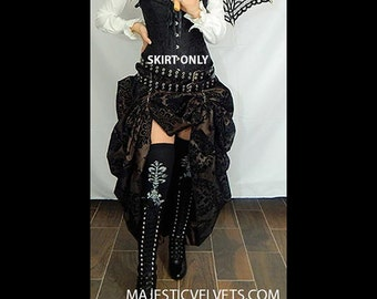 Ready to ship Steampunk Victorian SKIRT ONLY Taffeta Bustle Skirt Brown & Black DAMASK Costume for Cosplay Halloween