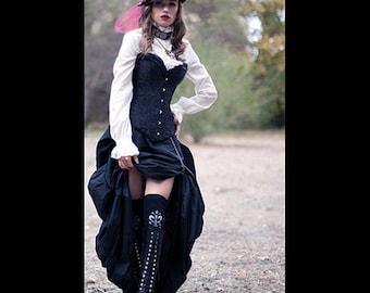 Ready to ship Steampunk Victorian Black Satin Corset with Black Taffeta Bustle Skirt Dress Costume Cosplay