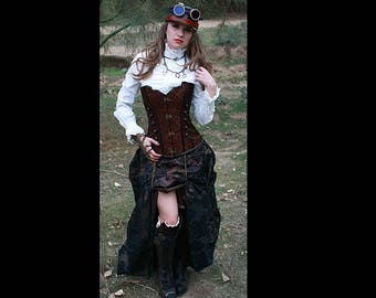 Steampunk Brown Corset w/ BROWN/BLACK DAMASK Bustle Skirt Victorian Cosplay Costume Dress Goth