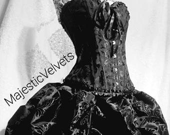 Black & Black Damask Steampunk Short Bustle Skirt With Black Damask Corset