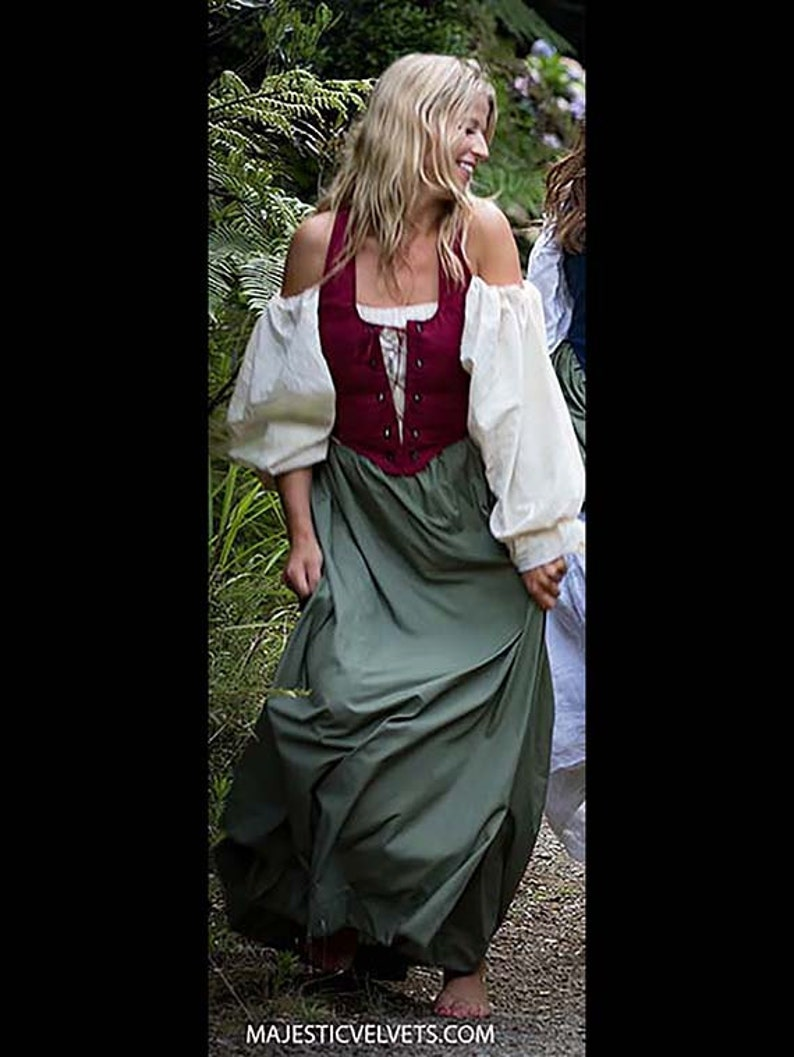 4c85dc4844f Renaissance Medieval Peasant front lace WINE Bodice-GREEN