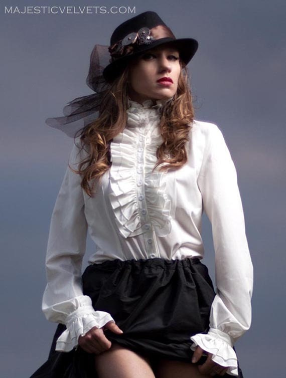 Victorian Blouses, Tops, Shirts, Vests Victorian Steampunk Blouse Long Sleeve High Neck long sleeve Frill White Ivory button up Shirt $45.00 AT vintagedancer.com