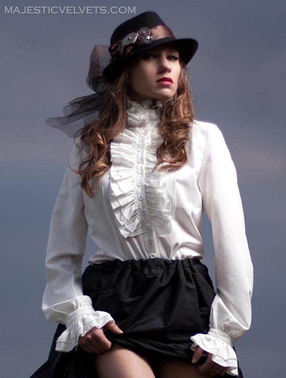 Steampunk Tops | Blouses, Shirts Victorian Steampunk Blouse Long Sleeve High Neck long sleeve Frill White Ivory button up Shirt $45.00 AT vintagedancer.com