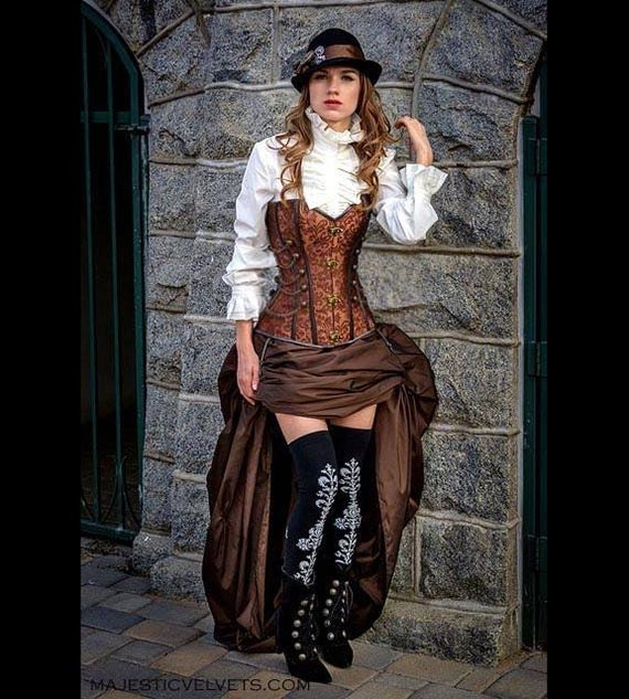 Steampunk Skirts | Bustle Skirts, Lace Skirts, Ruffle Skirts Steampunk Brown Corset w/ BROWN Bustle Skirt Victorian Cosplay Costume Dress Goth $99.99 AT vintagedancer.com