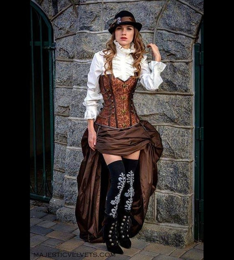 2c21f382eb Steampunk Brown Corset w/ BROWN Bustle Skirt Victorian Cosplay | Etsy