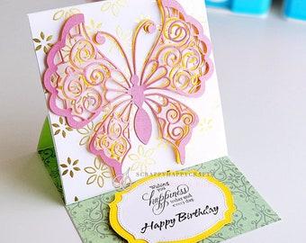 Happy Birthday Card // Birthday Greetings // Birthday Card for Friend // Birthday Card with Gold foil //Embossed and Die cut Birthday Card