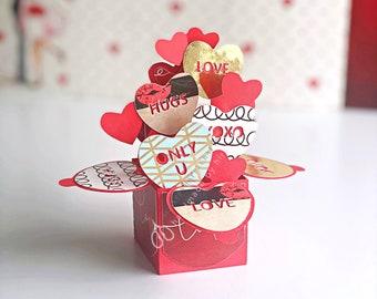 Pop up card \ Love \ Valentine Card \ Valentines Day Gift \ Love Theme Gift \ Handmade Gift \ Spouse \ Boyfriend \ Girlfriend \ Heart Card