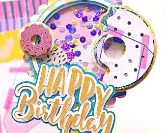 Doughnut Cake Topper   Customized Cake Toppers   Birthday Shaker Donut cake topper   Donut party decor   Donut birthday decor   one birthday
