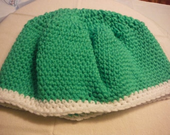Green and White Slouchy Hat