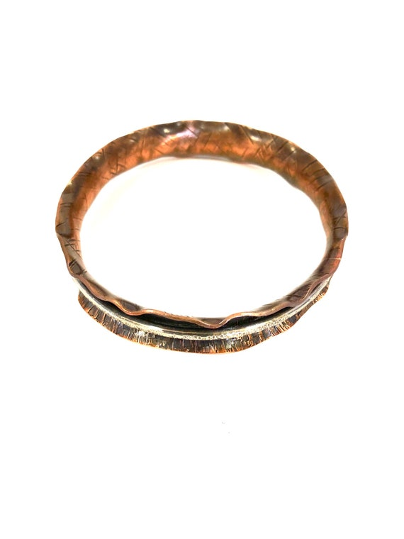 Argentium And Copper Fluted Spinner Bangle
