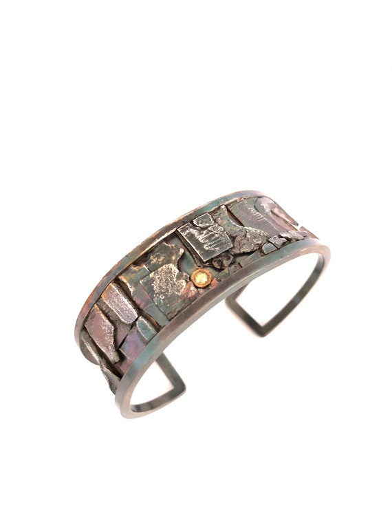 Sterling Fused and Formed Cuff With Yellow Rose Cut Diamond