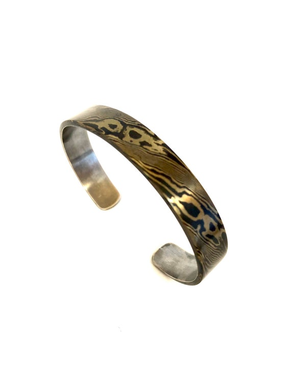 Mokume Gane Twist Pattern Heavy Gauge Sterling Backed Cuff