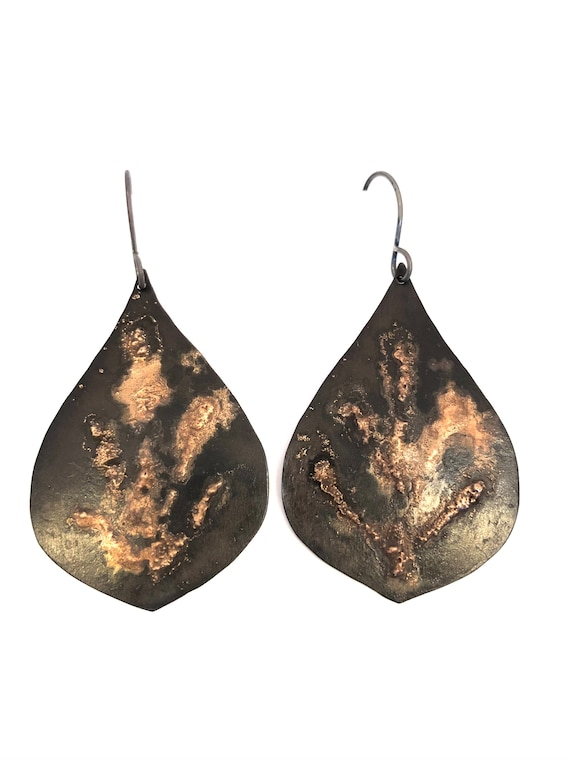 Steel & Bronze Metal Clay Earrings
