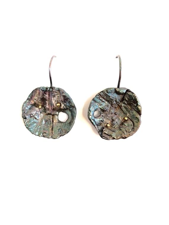 Sterling & 18k Gold Fused Textured Dangle Earrings