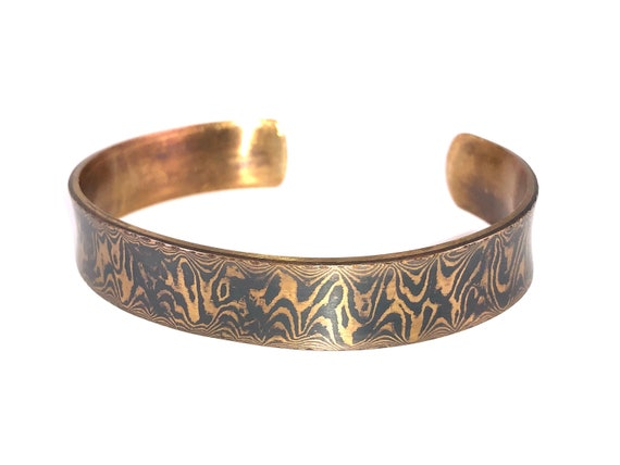 Mokume Gane Heavy Gauge Sterling Backed Cuff