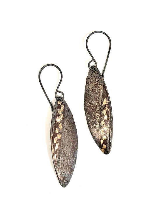 14k, Sterling And Copper Etched Oval Dangle Earrings