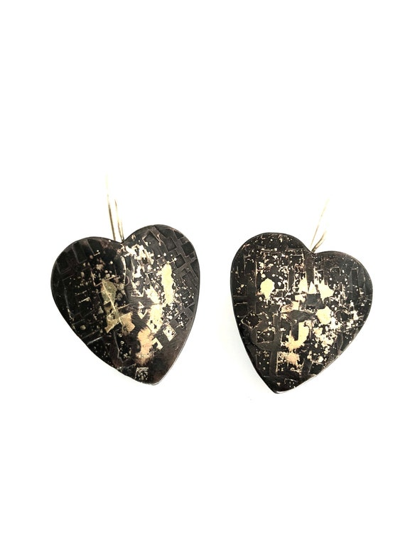 Copper & Gold Hammered Heart Earrings