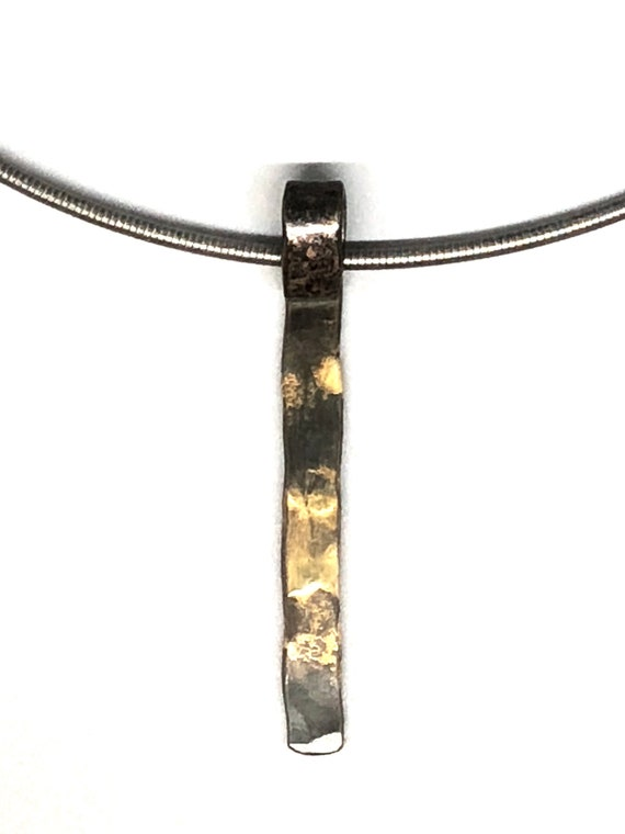 """Gold And Steel Bar Pendant With 18"""" Stainless Neck Cable"""