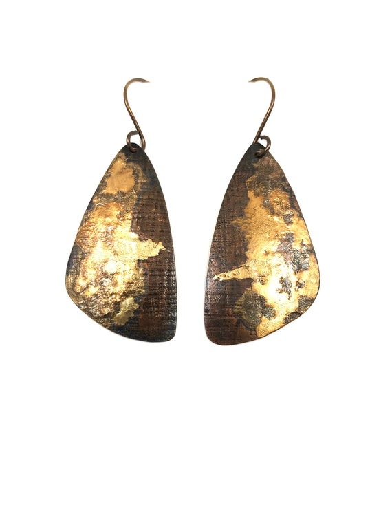 Gold And Copper Triangle Dangle Earrings