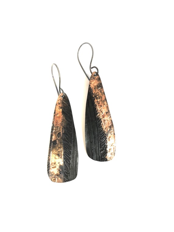 Steel & 18k Red Gold Etched Dangle Earrings