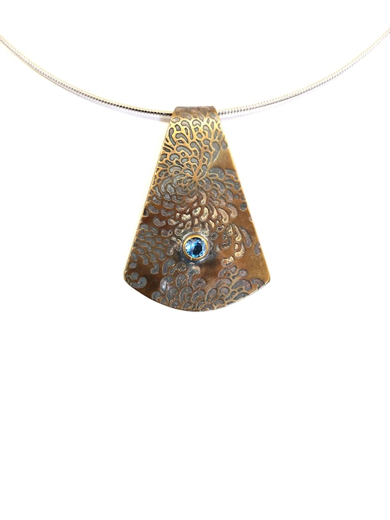 Japanese Chrsanthemum Bronze Necklace with Blue Cubic Zirconia