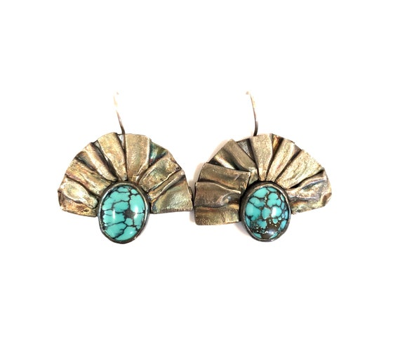 Turquoise And Fused Silver Fan Earrings