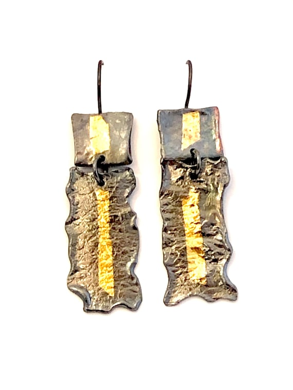 Heat Textured Sterling & 24k Keum-Boo Dangle Earrings