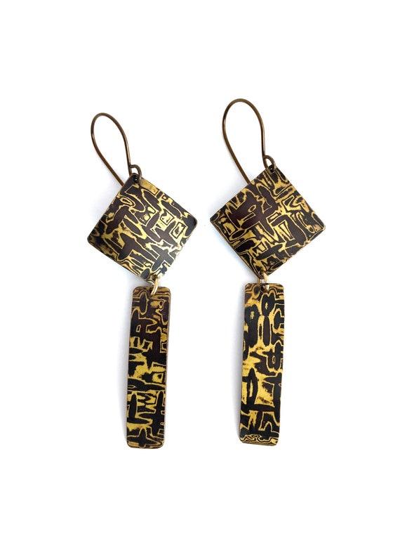 Mokume Gane Hammered Dangle Earrings