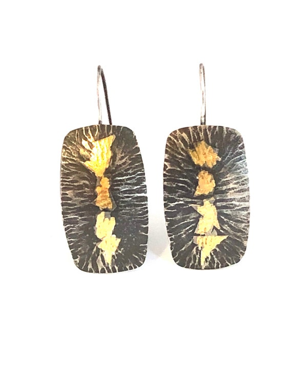 Sterling & Gold Keum Boo Hammered Dangle Earrings
