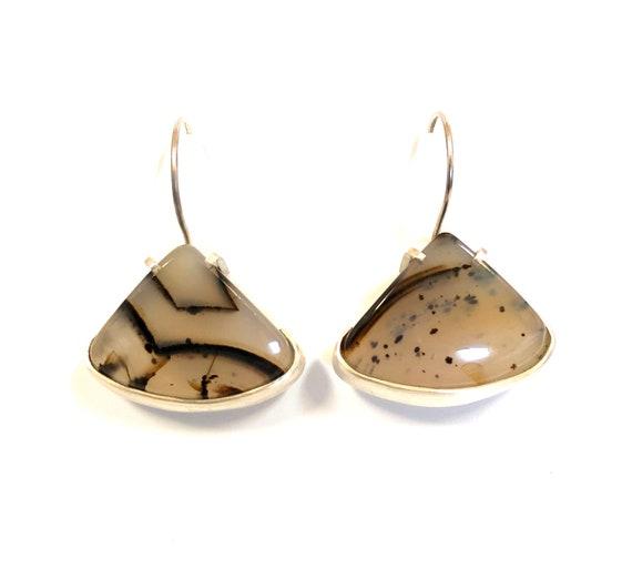 Sterling Silver Montana Agate Fan Earrings